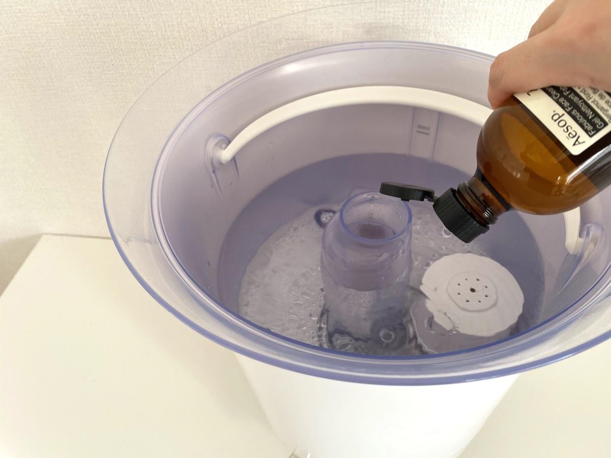 加湿器に除菌水のスリーフを入れて水垢知らずに