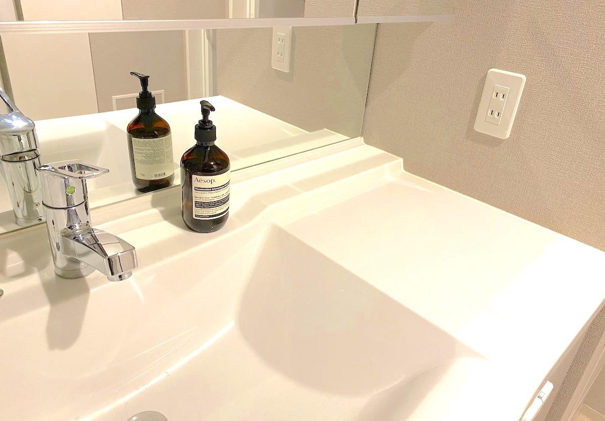 イソップのレスレクション ハンドウォッシュを洗面所に飾る